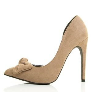 Valia Taupe Bow D-Orsay Heels